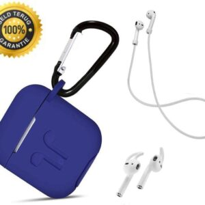 3 in one set! Case for Airpods silicone case protective cover + strap + earhoox - royal blue