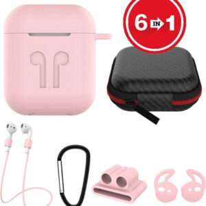 6 in 1 silicone case with accessories for AirPods - pink
