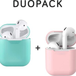 COMBI DEAL - Silicone Case Cover for Apple Mint + Pink AirPods 2 Case - DUOPACK