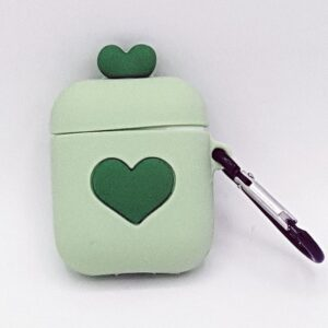 Cartoon Silicone Case for Apple Airpods - love heart - green - with carabiner - Carabiner