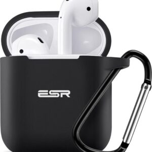 Cover / case / case for Apple Airpods (gen 1 and 2.) - ESR - BOUNCE - Very nicely designed case and strong and high - BLACK - with carry clip