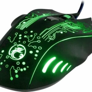 Estone X9 USB 6 Buttons 5000 DPI wired multi-color LED optical gaming mouse for computer PC laptop (black)