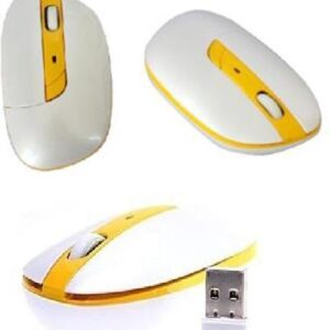 G-199 Office Laptop Computer 2.4GHz USB 1600 DPI Wireless Optical Mouse - Yellow