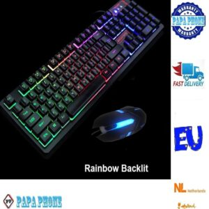 Gaming Keyboard Mouse Sets 198i-188 USB Wired Keyboard 104 Rainbow LED Backlit Gamer Keyboard Multimedia Ergonomic Game 3 Button Optical Mouse for PC Laptop