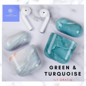 Hard Case MARBLE LOOK Case Cover for Apple AirPods Case Cover - Airpod Cases - Cases - Marble Turquoise Color - Airpod covers - Marble cover Airpod - Airpod case of marble - Turquoise - Green
