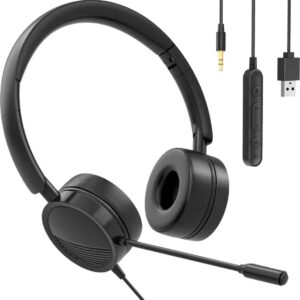 """Headset with Microphone for PC and phones - Office Noise Canceling Headset - Headset with Microphone for Laptop - Work at home - Silent - Black - AlwaysCareâ """"¢ Headsets"""