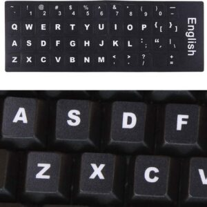 Keyboard Cover Film Independent Paste English Keyboard Stickers for Laptop Notebook Keyboard (Black)