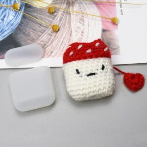Silicone Airpods half case with a wool mushrooms cover