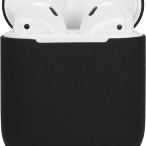 Silicone Case Apple Airpods half Charging Case Cover Wireless Airpods l Airpods Case Silicone Case - Black